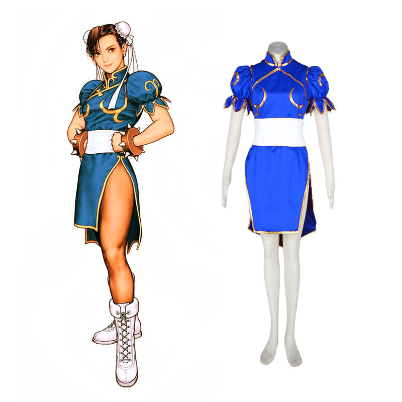 Street Fighter Chun-Li 1 Blue Anime Cosplay Costumes Outfit