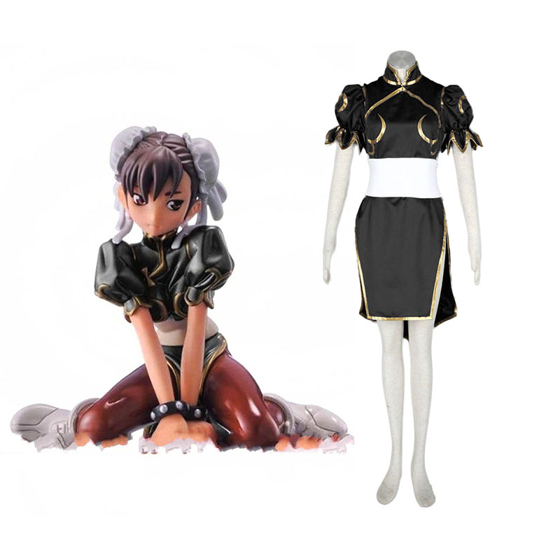 Street Fighter Chun-Li 2 Black Anime Cosplay Costumes Outfit