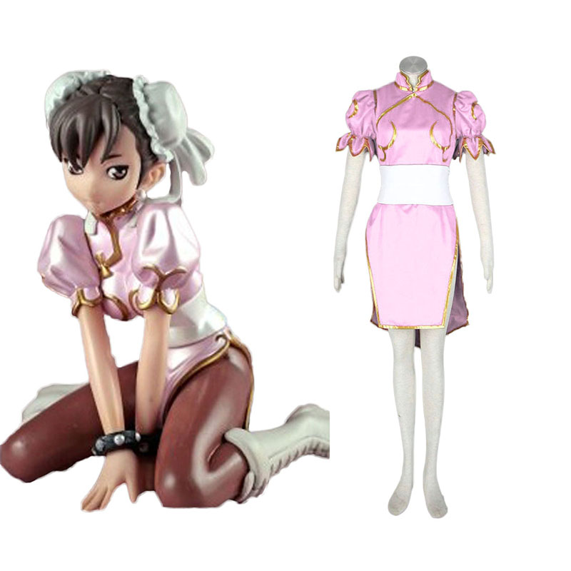Street Fighter Chun- Li 3 Pink Anime Cosplay Costumes Outfit