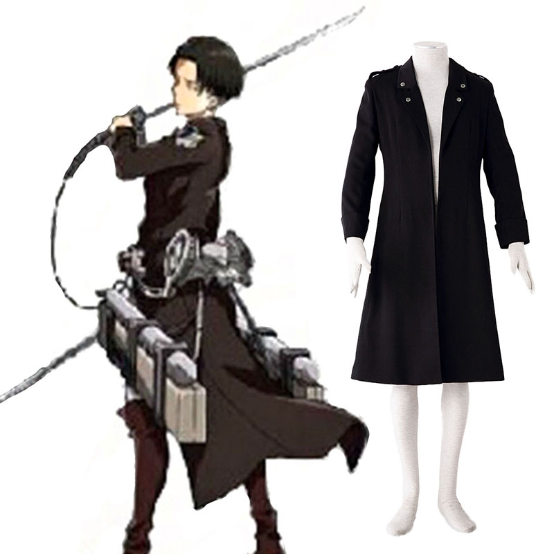 Attack on Titan Levi Black Anime Cosplay Costumes Outfit