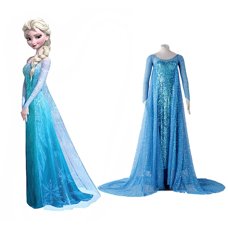 Frozen Elsa 1 Blue Anime Cosplay Costumes Outfit