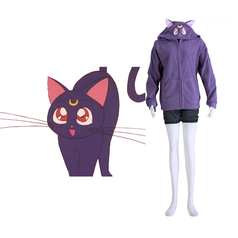 Sailor Moon Black Cat Luna Anime Cosplay Costumes Outfit