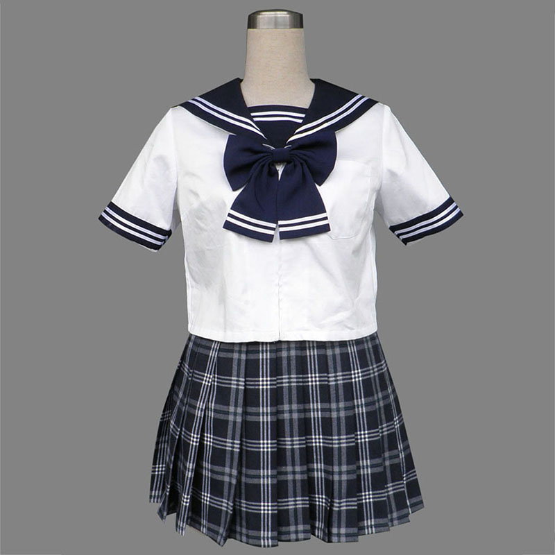 Sailor Uniform 5 Black Grid Anime Cosplay Costumes Outfit