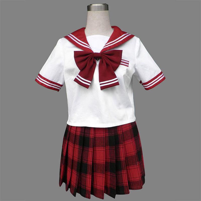 Sailor Uniform 6 Red Grid Anime Cosplay Costumes Outfit