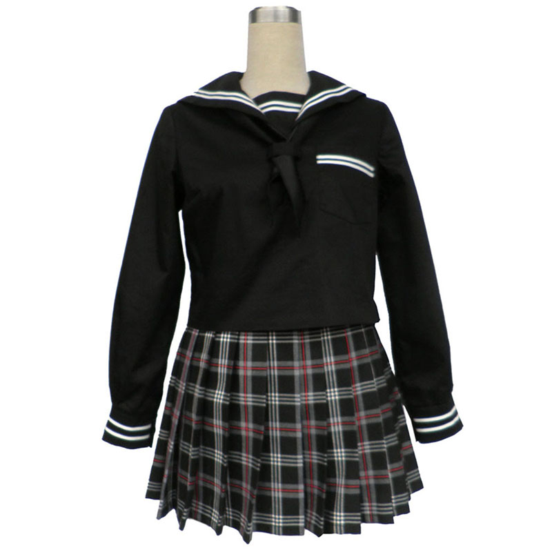 Sailor Uniform 7 Red Black Grid Anime Cosplay Costumes Outfit