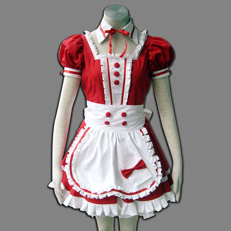 Red Maid Uniform 6 Anime Cosplay Costumes Outfit