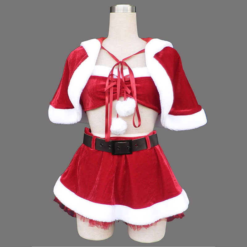 Red Christmas Lady Dress 5 Anime Cosplay Costumes Outfit