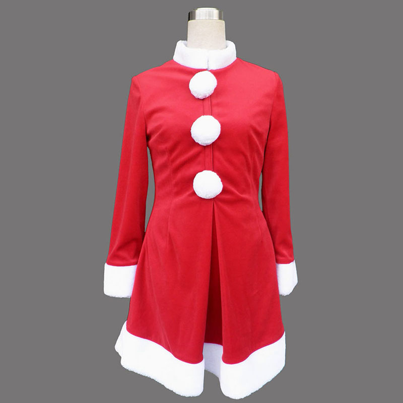 Red Christmas Lady Dress 6 Anime Cosplay Costumes Outfit