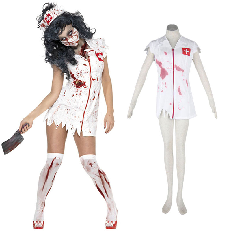 Halloween Culture Zombie Burst Blood Nurses 1 Anime Cosplay Costumes Outfit