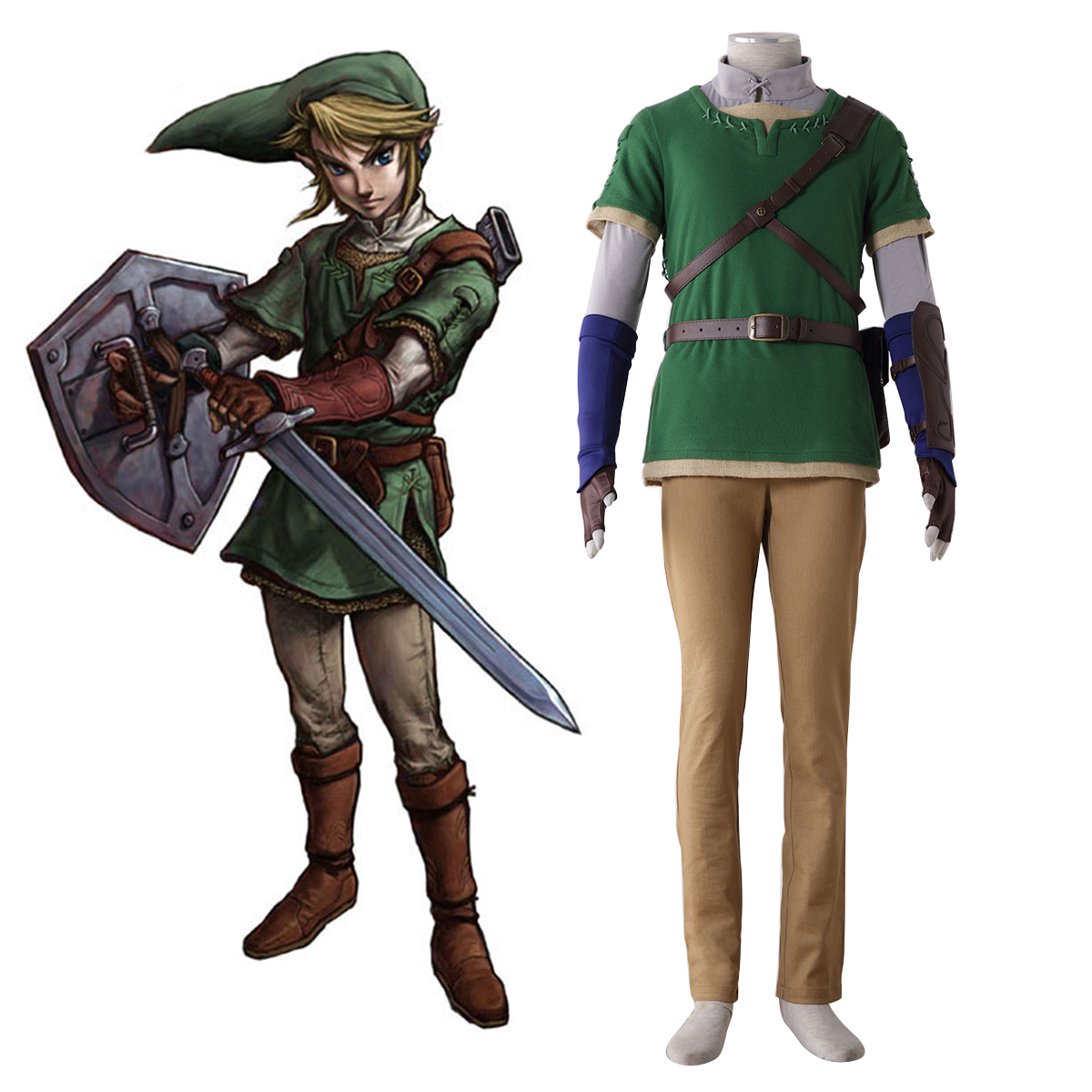 The Legend of Zelda Twilight Princess Link 4 Anime Cosplay Costumes Outfit