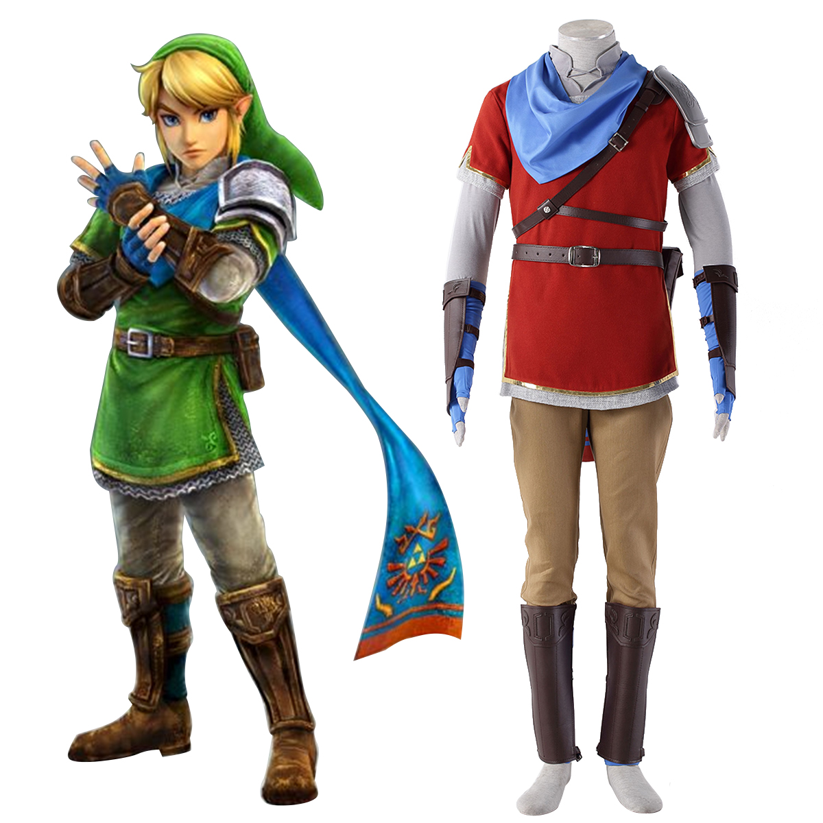 The Legend of Zelda Hyrule-Warriors Link 6 Red Anime Cosplay Costumes Outfit