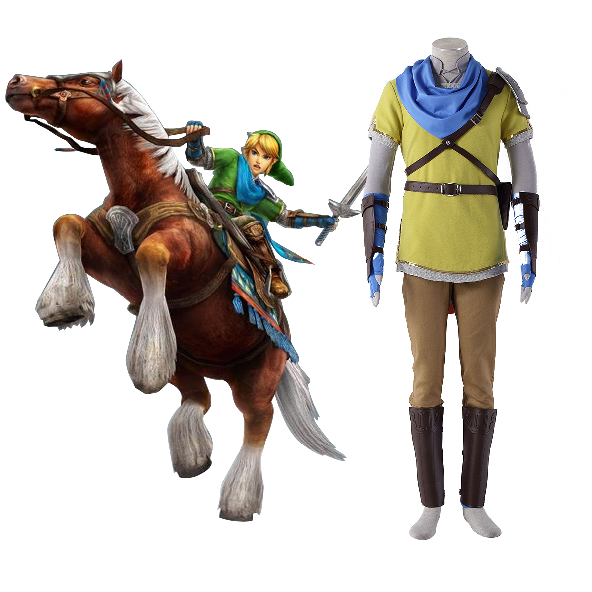 The Legend of Zelda Hyrule-Warriors Link 7 Yellow Anime Cosplay Costumes Outfit