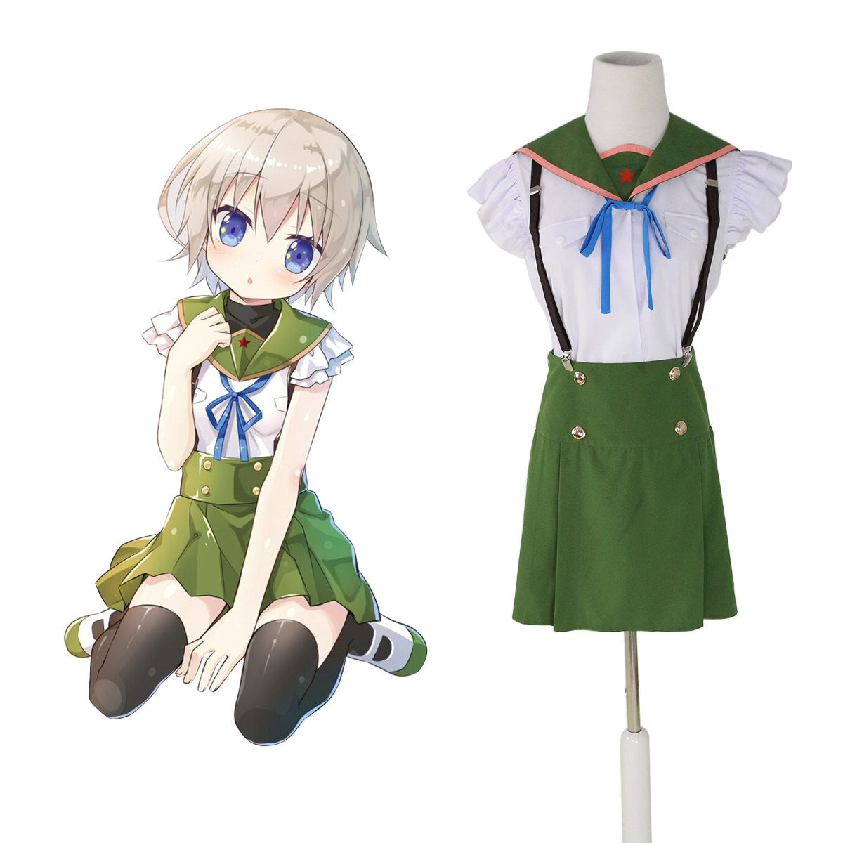 School-Live! Ebisuzawa Kurumi 1 Green Sailor Anime Cosplay Costumes Outfit