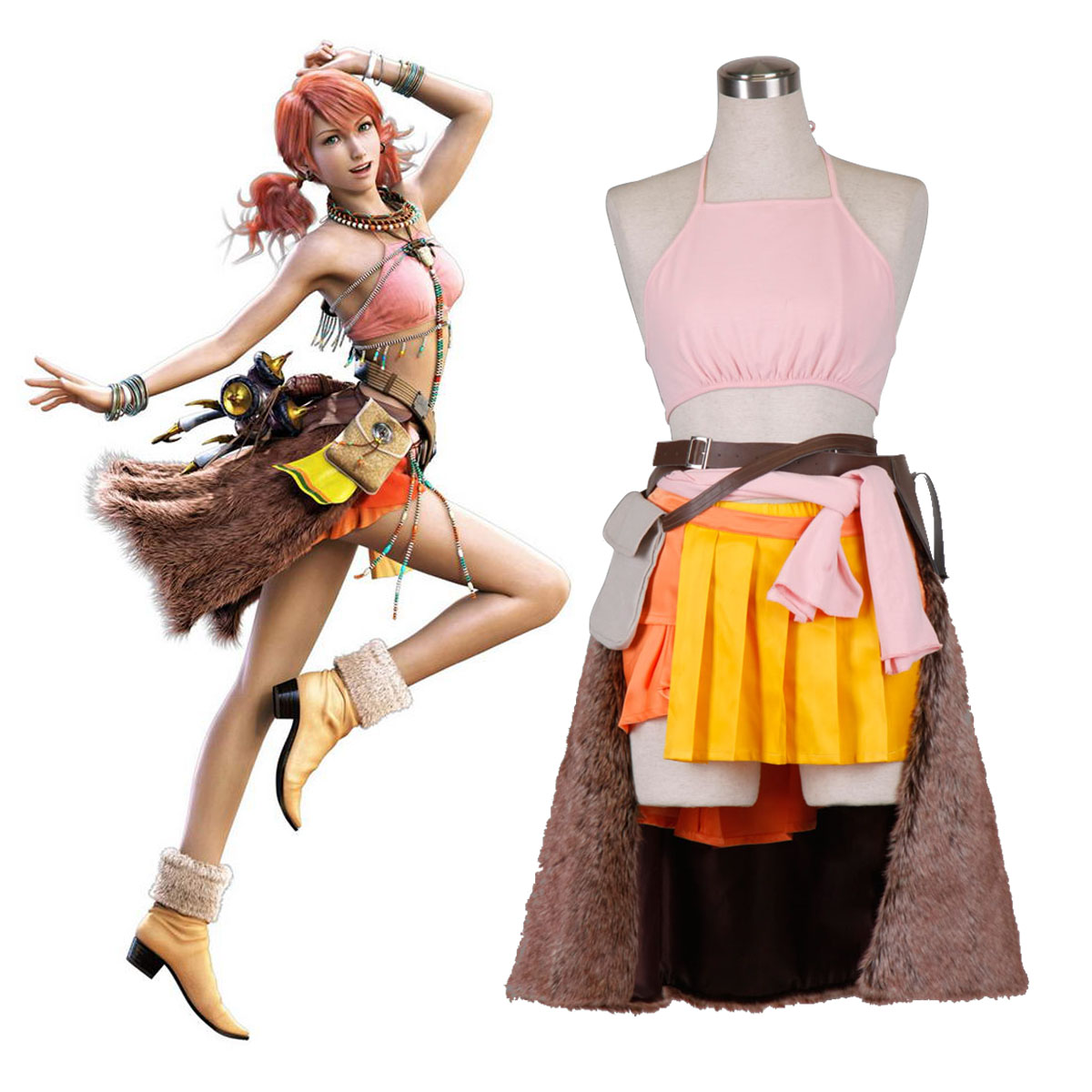 Final Fantasy XIII Oerba Dia Vanille 1 Anime Cosplay Costumes Outfit
