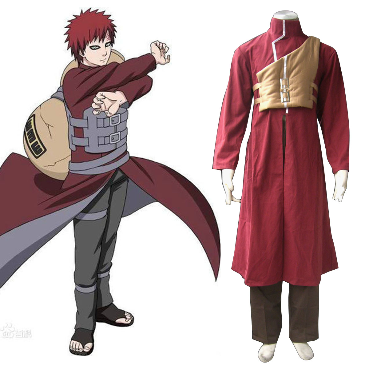 Naruto Gaara 4 Anime Cosplay Costumes Outfit