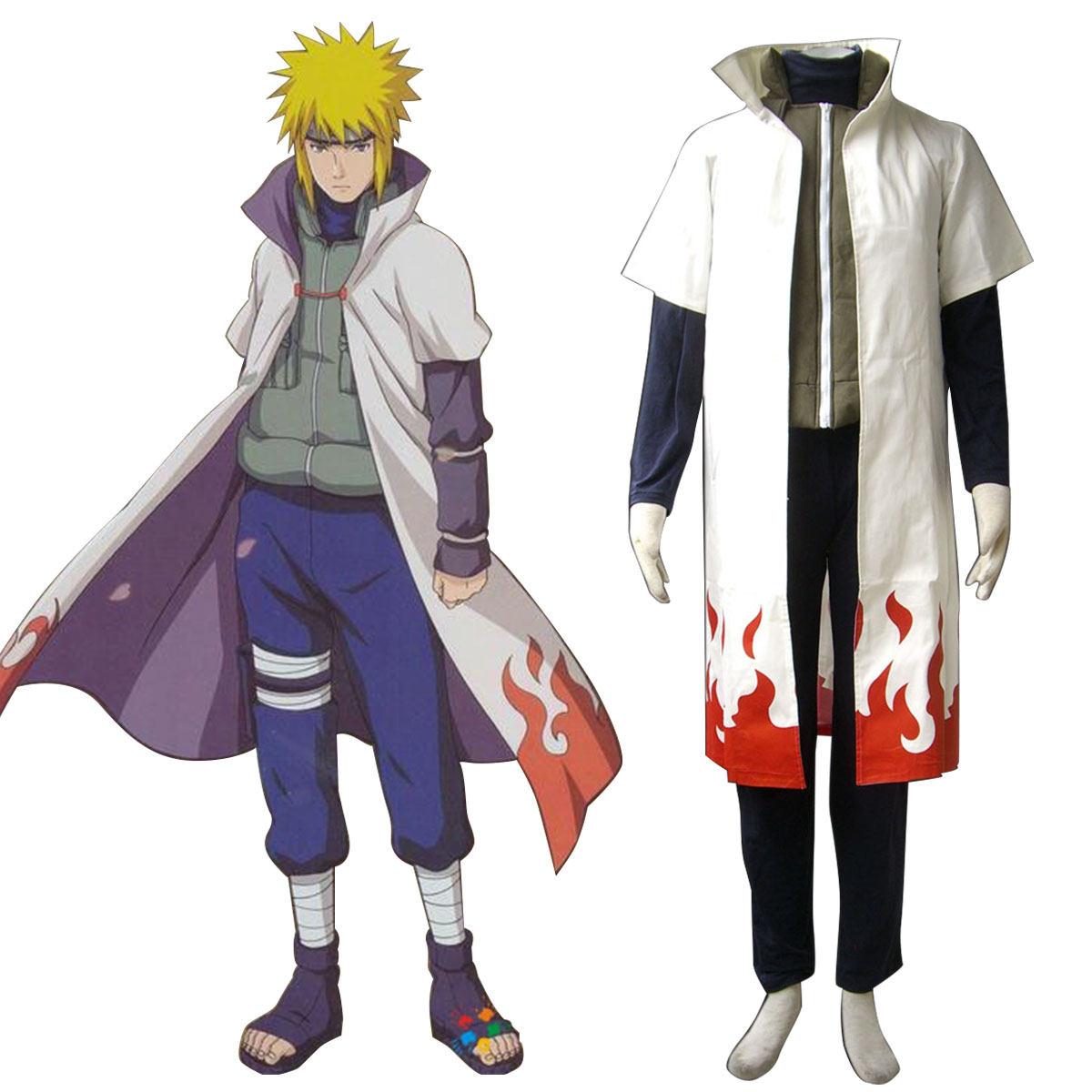 Naruto Fourth Hokage 1 Anime Cosplay Costumes Outfit