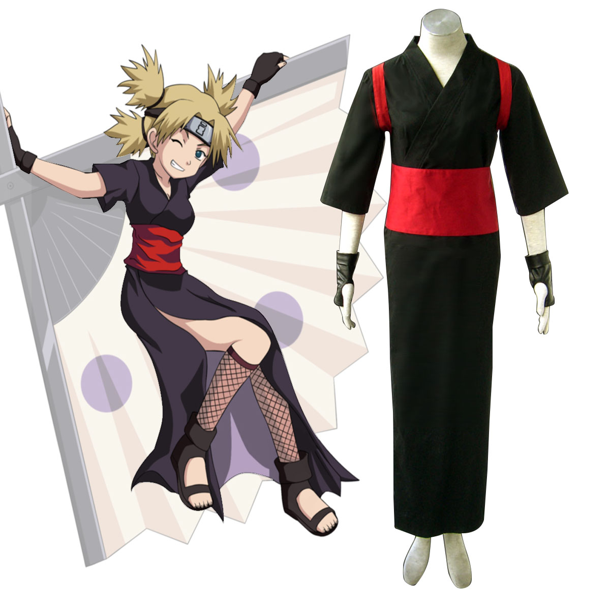 Naruto Shippuden Temari 3 Anime Cosplay Costumes Outfit