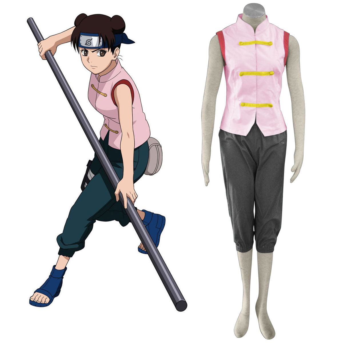 Naruto Tenten 1 Anime Cosplay Costumes Outfit