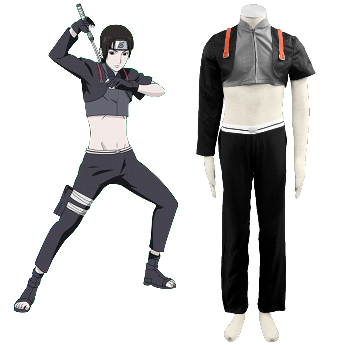 Naruto Shippuden Sai Anime Cosplay Costumes Outfit