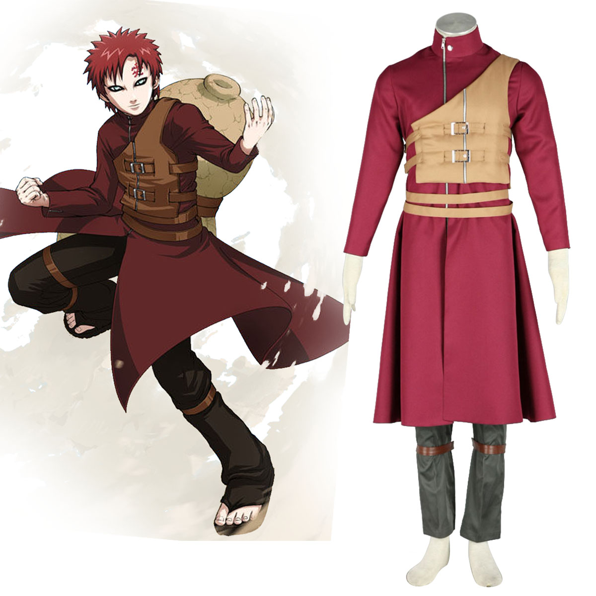 Naruto Shippuden Gaara 6 Anime Cosplay Costumes Outfit