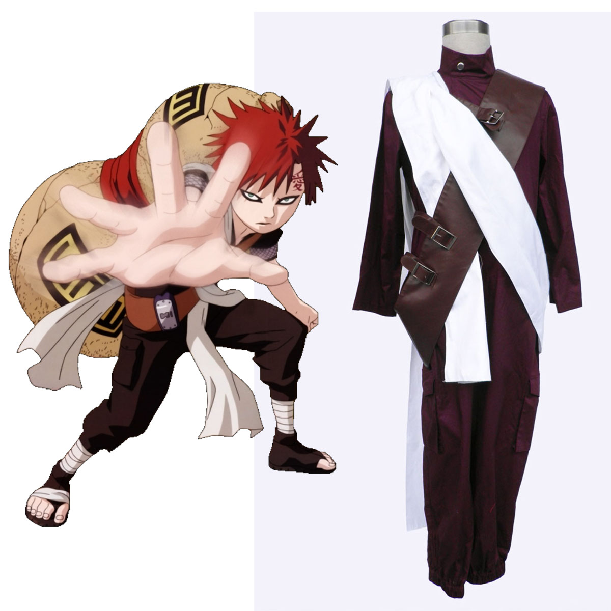 Naruto Gaara 3 Anime Cosplay Costumes Outfit