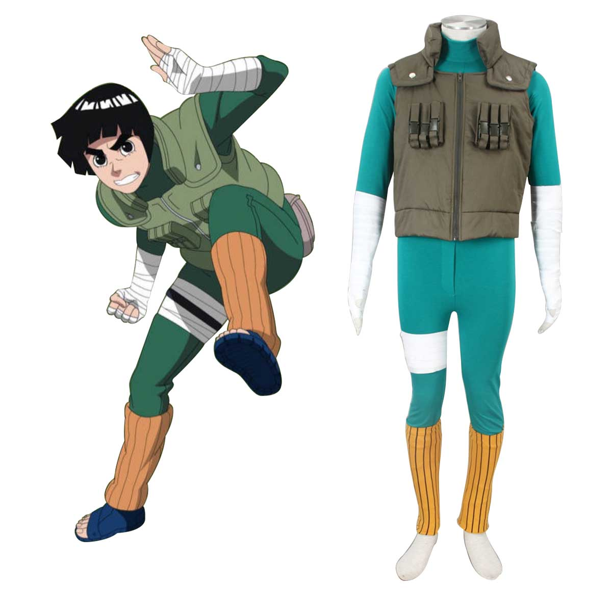 Naruto Shippuden Rock Lee 2 Anime Cosplay Costumes Outfit