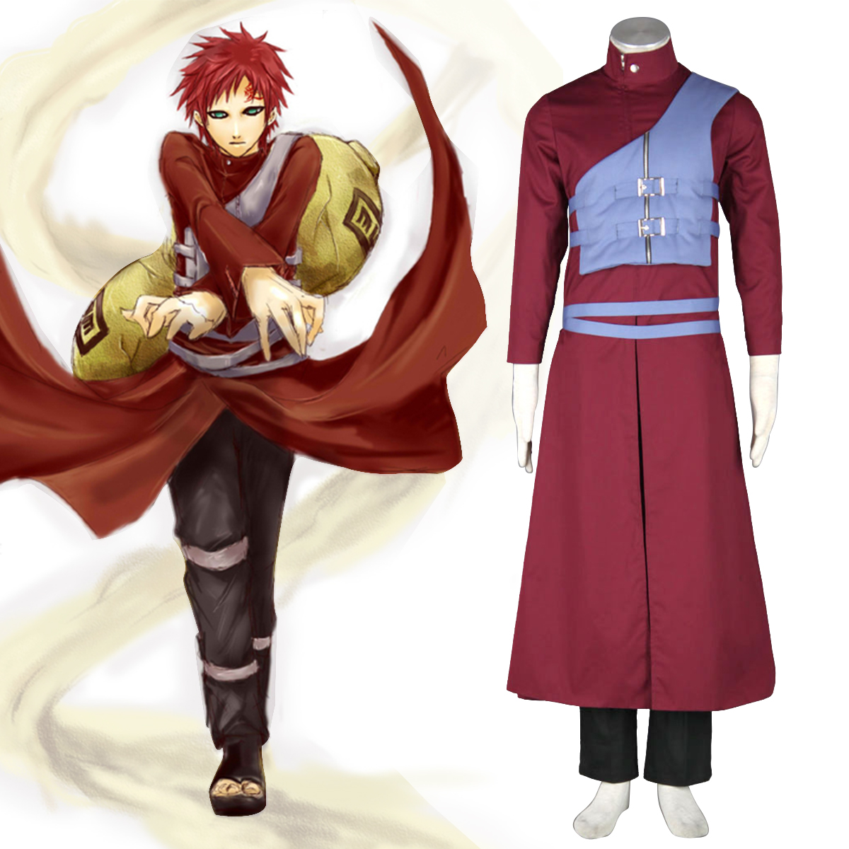 Naruto Shippuden Gaara 7 Anime Cosplay Costumes Outfit