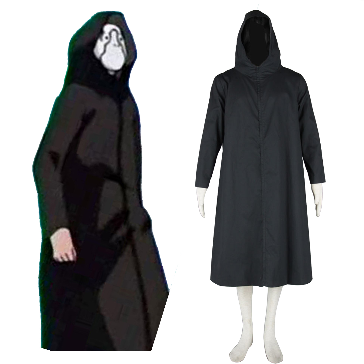 Naruto ANBU Cloak 2 Black Anime Cosplay Costumes Outfit