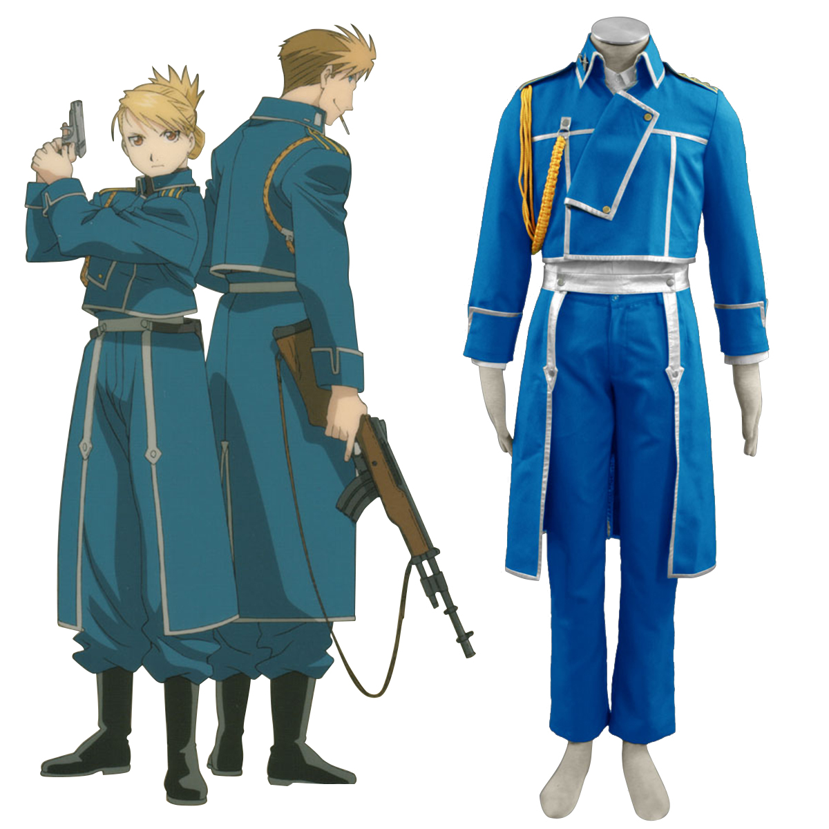 Fullmetal Alchemist Male Military Uniform Anime Cosplay Costumes Outfit