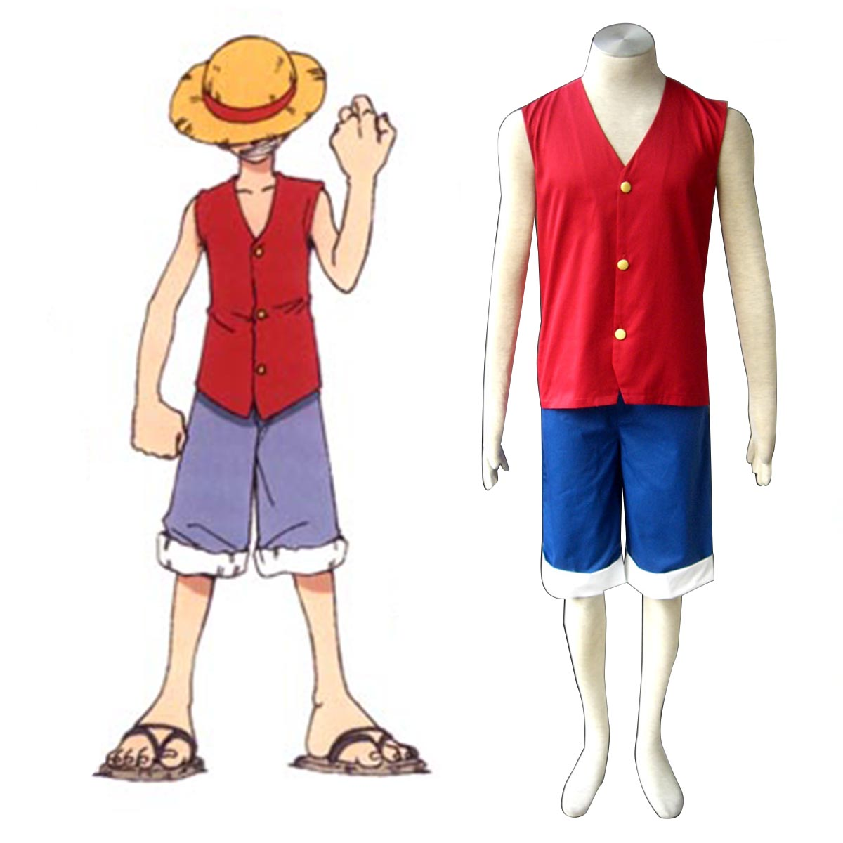 One Piece Monkey D. Luffy 1 Red Anime Cosplay Costumes Outfit
