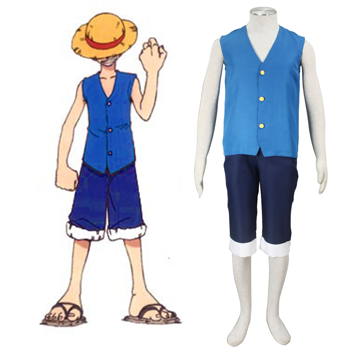 One Piece Monkey D. Luffy 2 Blue Anime Cosplay Costumes Outfit