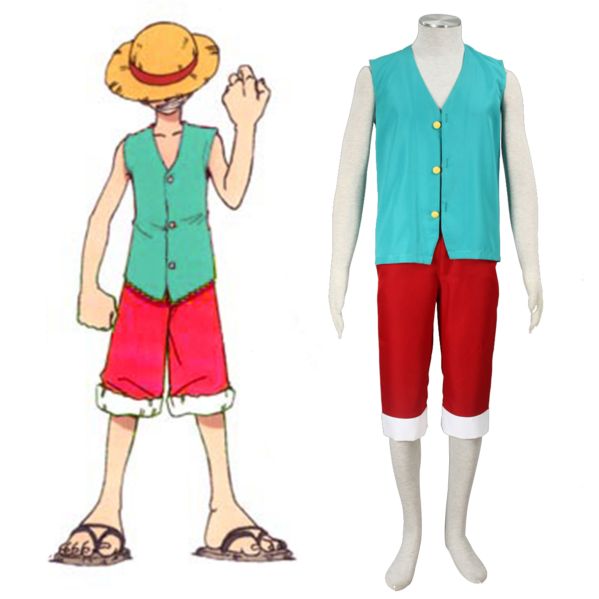 One Piece Monkey D. Luffy 3 Green Anime Cosplay Costumes Outfit