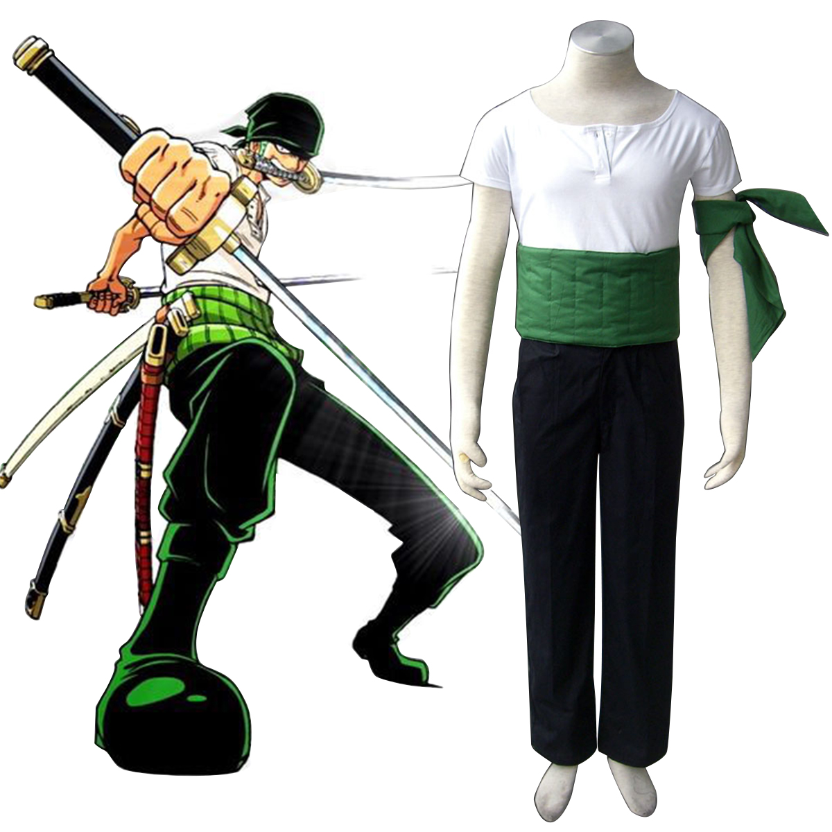 One Piece Roronoa Zoro 1 Anime Cosplay Costumes Outfit