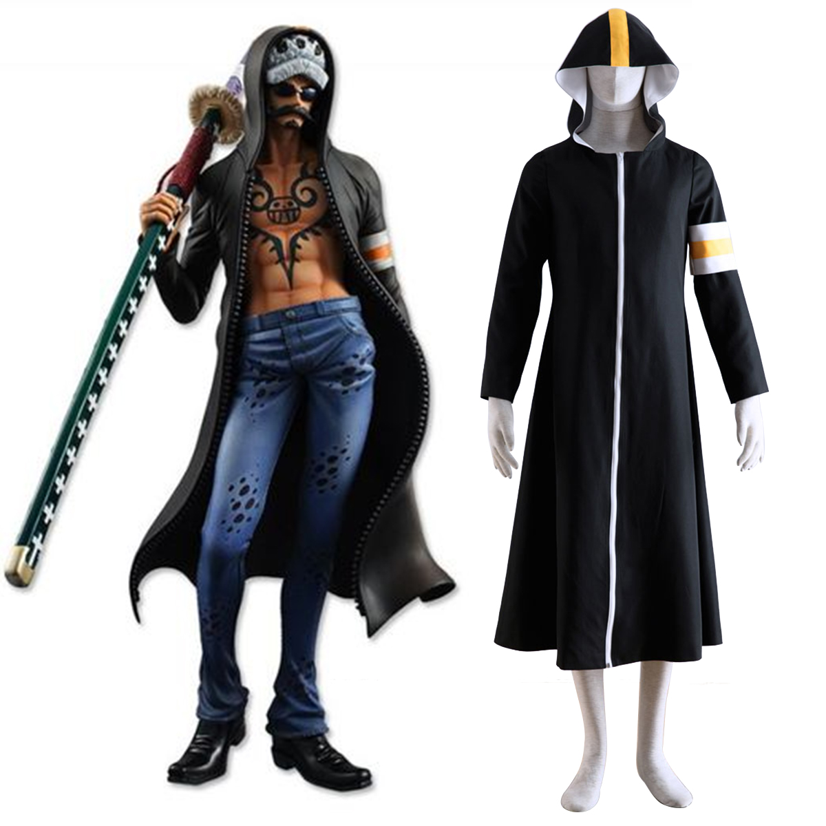 One Piece Surgeon of Death Trafalgar Law 1 Anime Cosplay Costumes Outfit