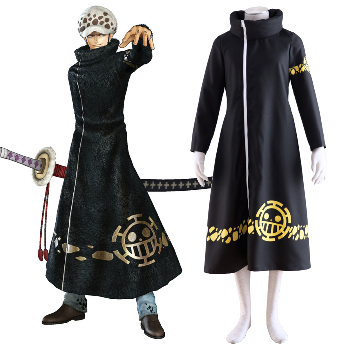 One Piece Trafalgar Law 2 Anime Cosplay Costumes Outfit
