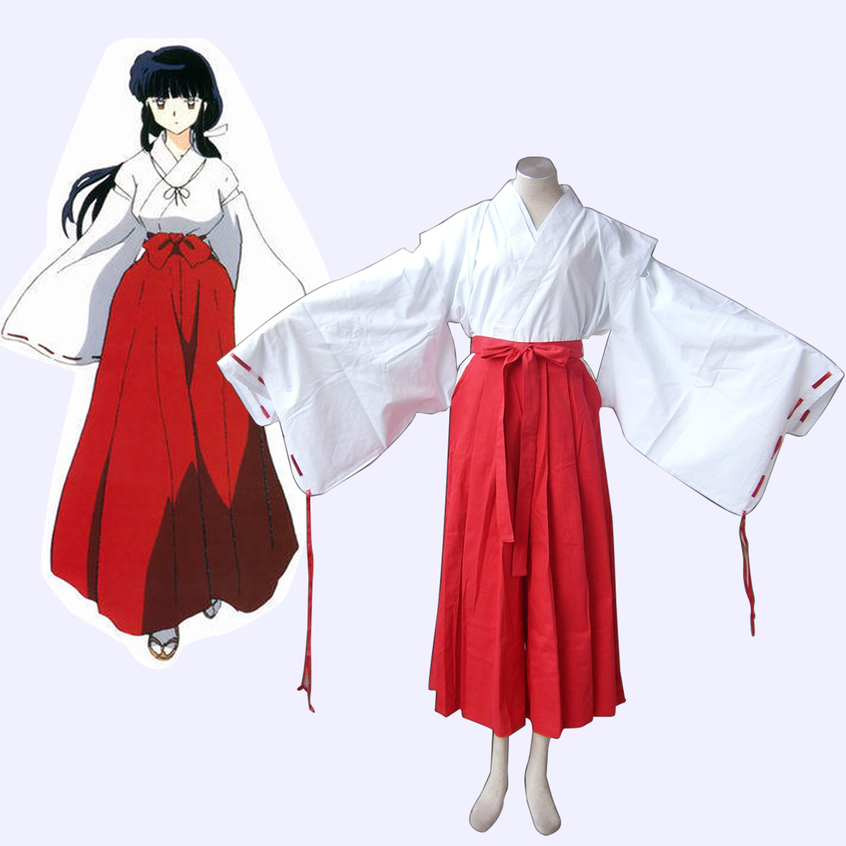 Inuyasha Kikyou Miko Anime Cosplay Costumes Outfit