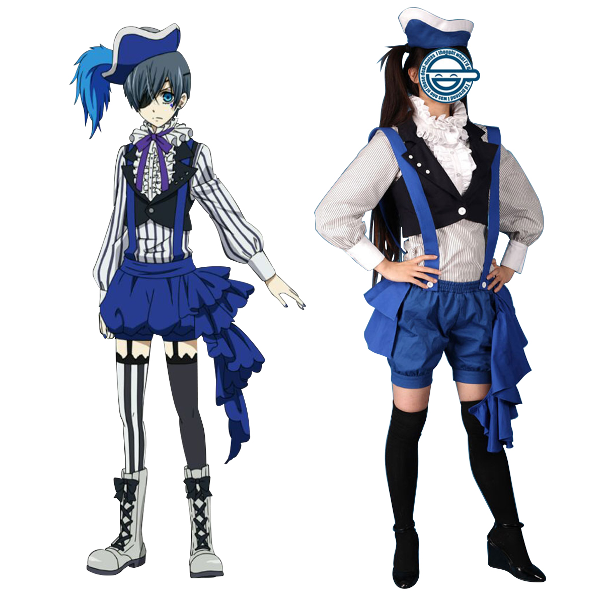Black Butler Ciel Phantomhive 2 Anime Cosplay Costumes Outfit