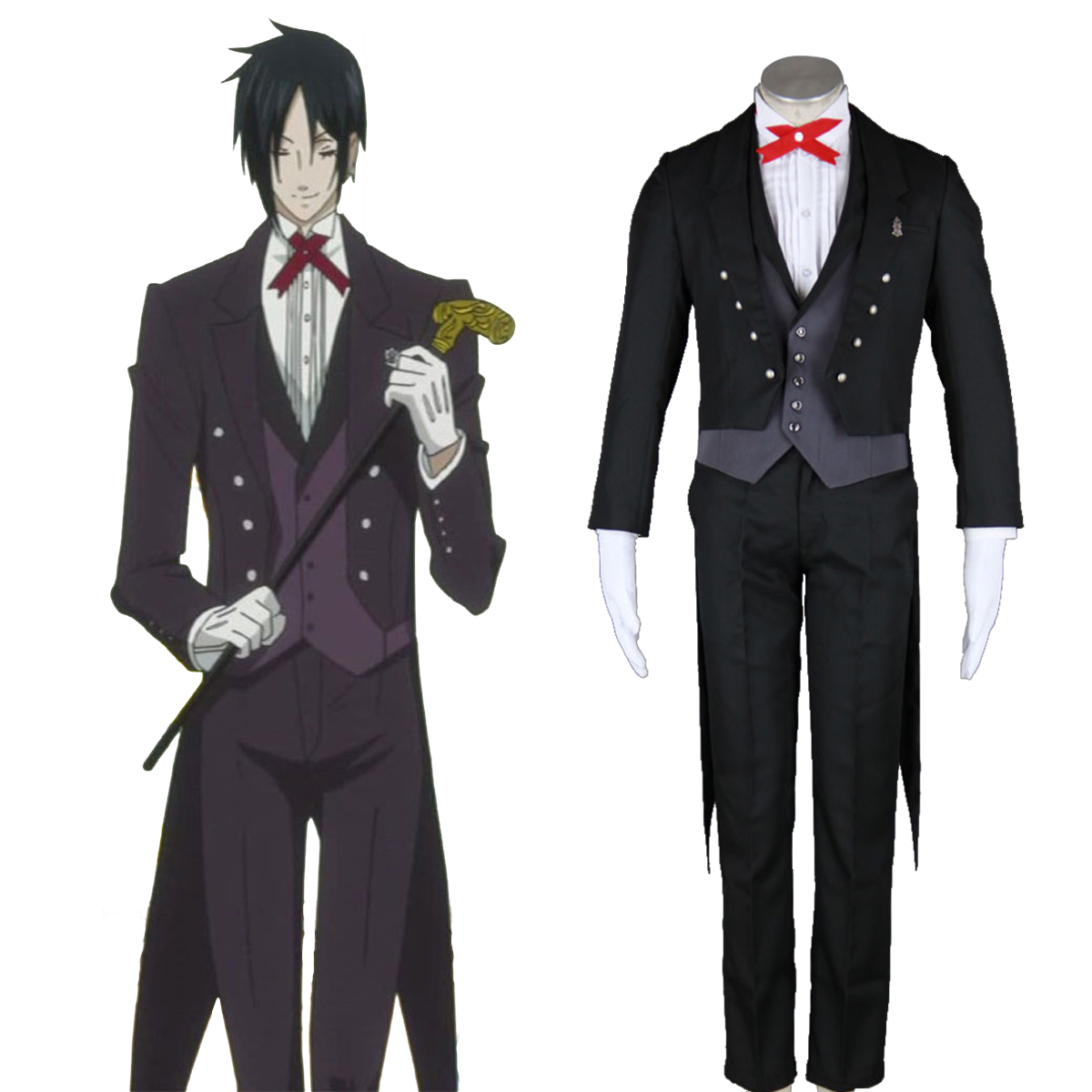 Black Butler Sebastian Michaelis 2 Anime Cosplay Costumes Outfit