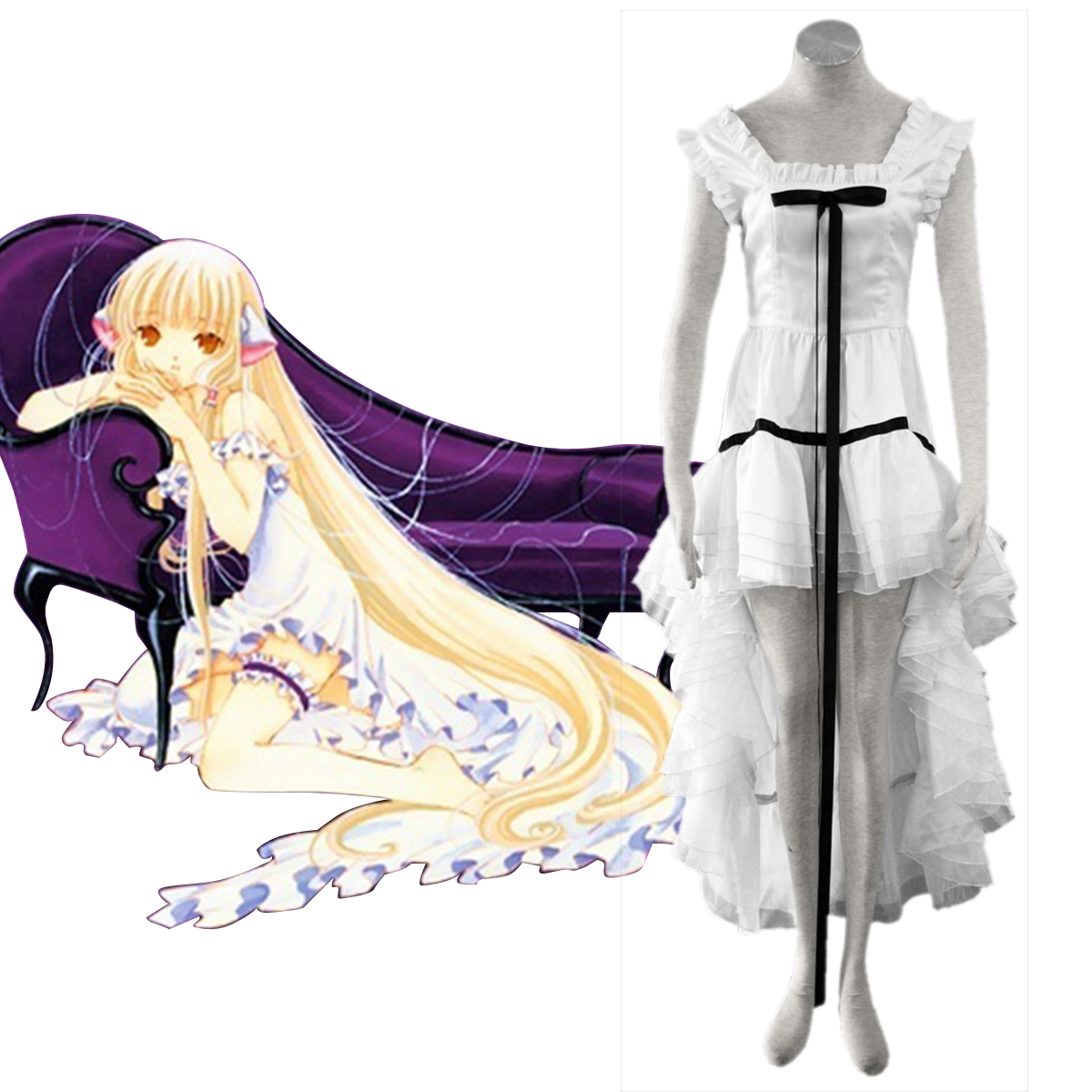 Chobits Eruda 2 White Anime Cosplay Costumes Outfit