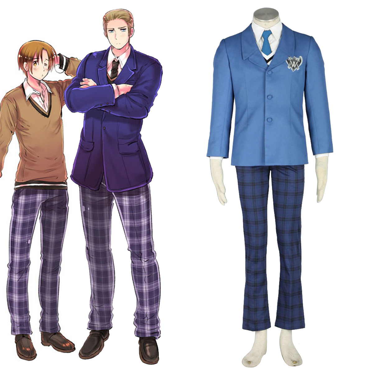 Axis Powers Hetalia Winter Male School Uniform 1 Anime Cosplay Costumes Outfit