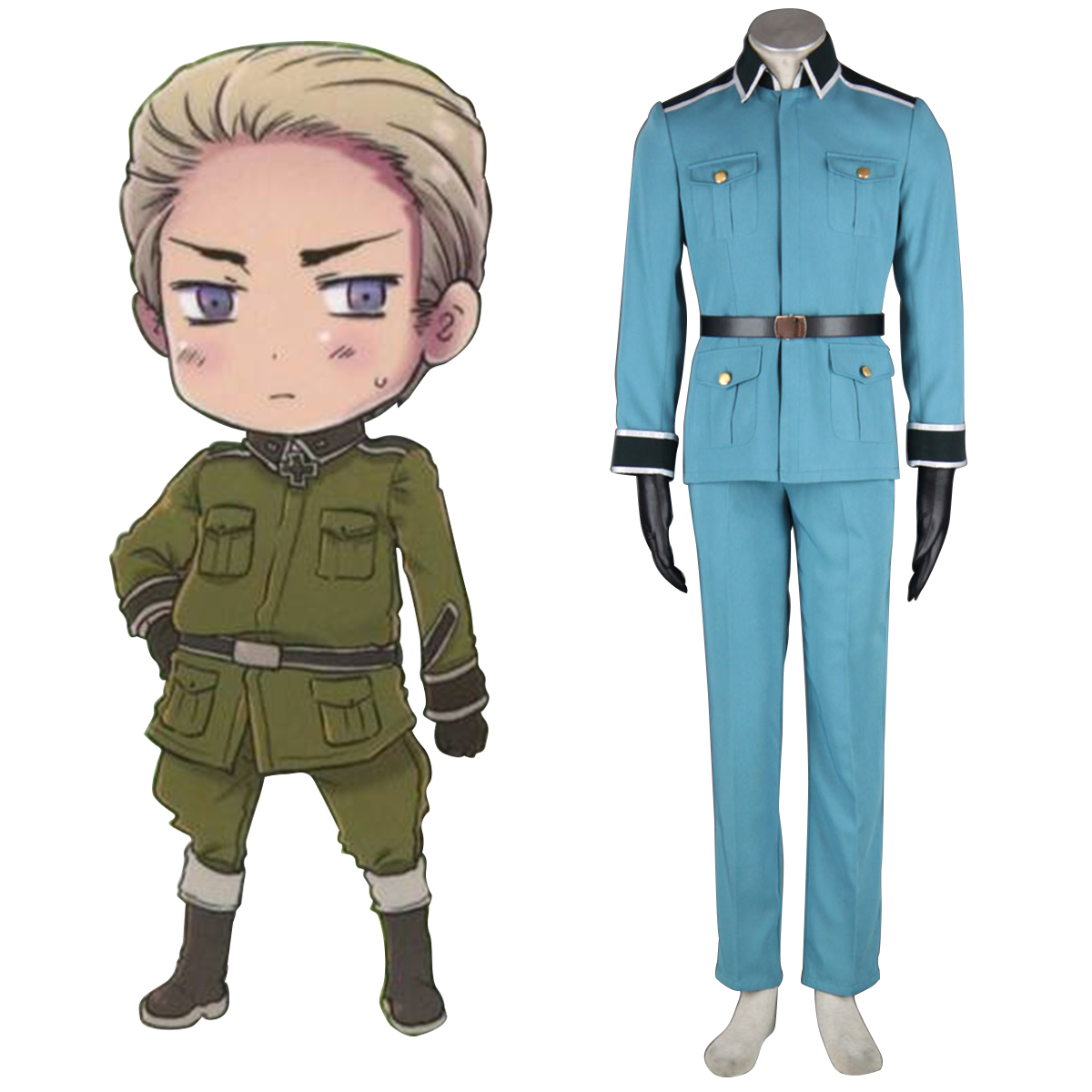 Axis Powers Hetalia Germany 1 Military Uniform Anime Cosplay Costumes Outfit