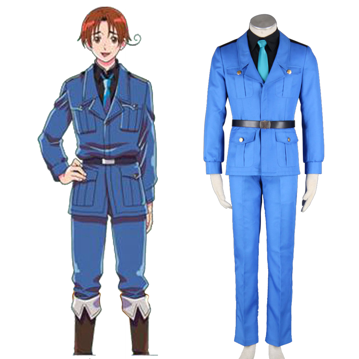 Axis Powers Hetalia APH North Italy Feliciano Vargas 3 Anime Cosplay Costumes Outfit