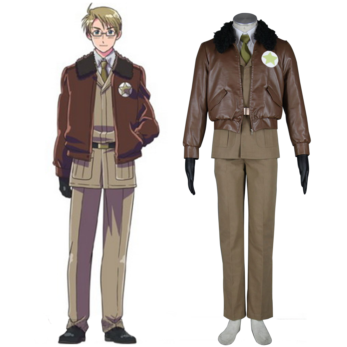 Axis Powers Hetalia APH America Alfred F Jones 1 Anime Cosplay Costumes Outfit