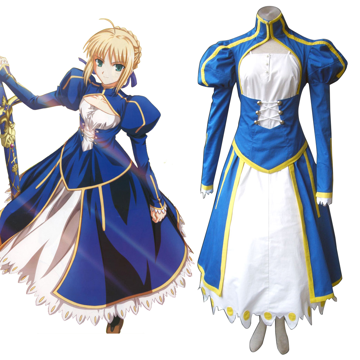 The Holy Grail War Saber 1 Blue Anime Cosplay Costumes Outfit