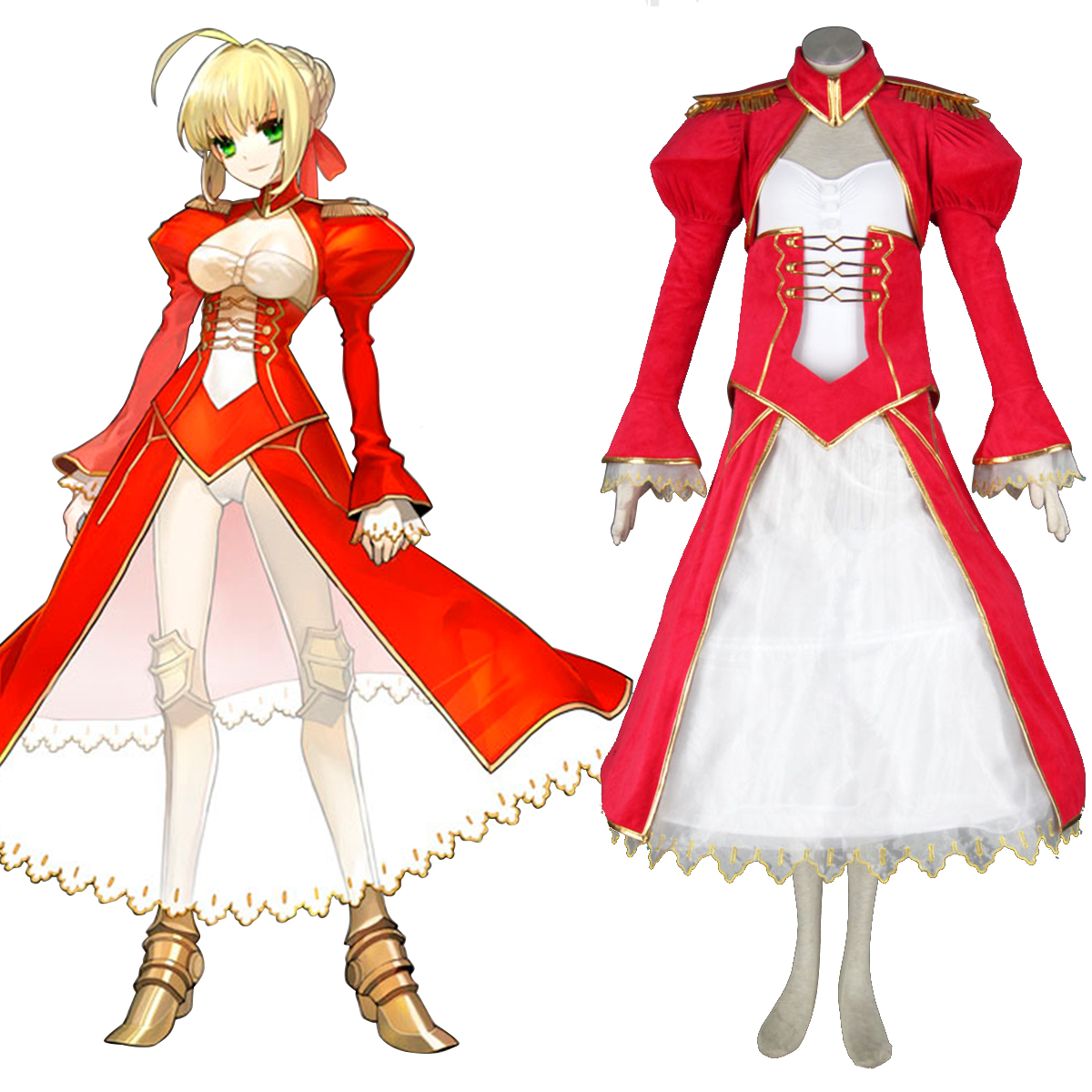 The Holy Grail War Saber 2 Red Anime Cosplay Costumes Outfit