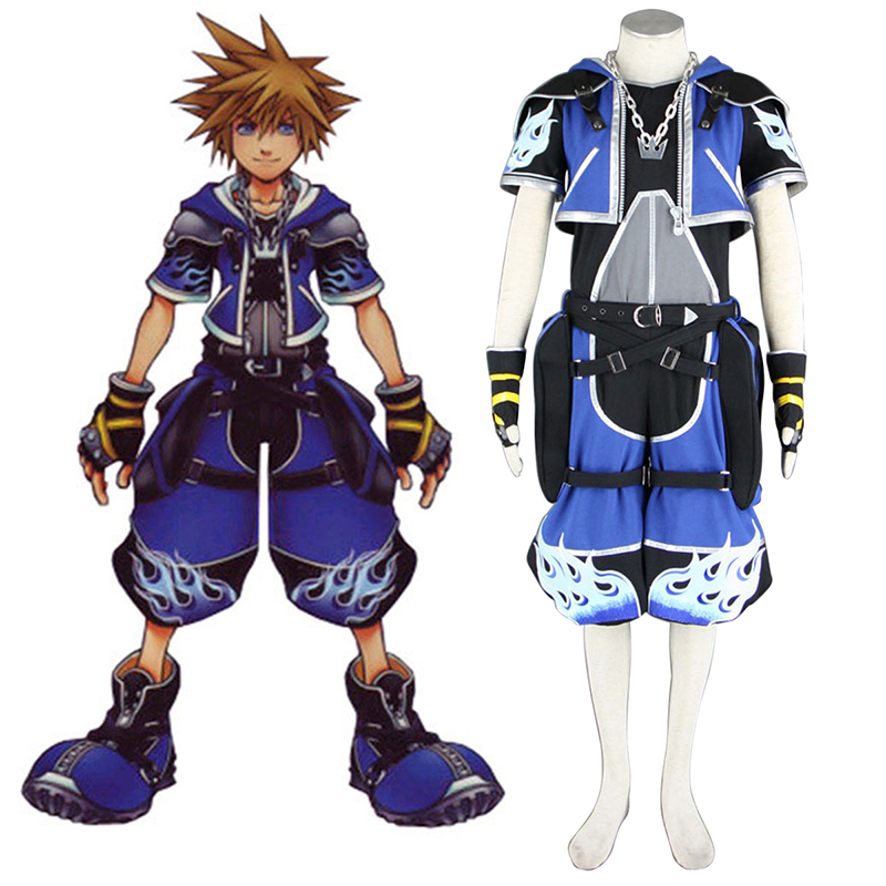 Kingdom Hearts Sora 2 Blue Anime Cosplay Costumes Outfit