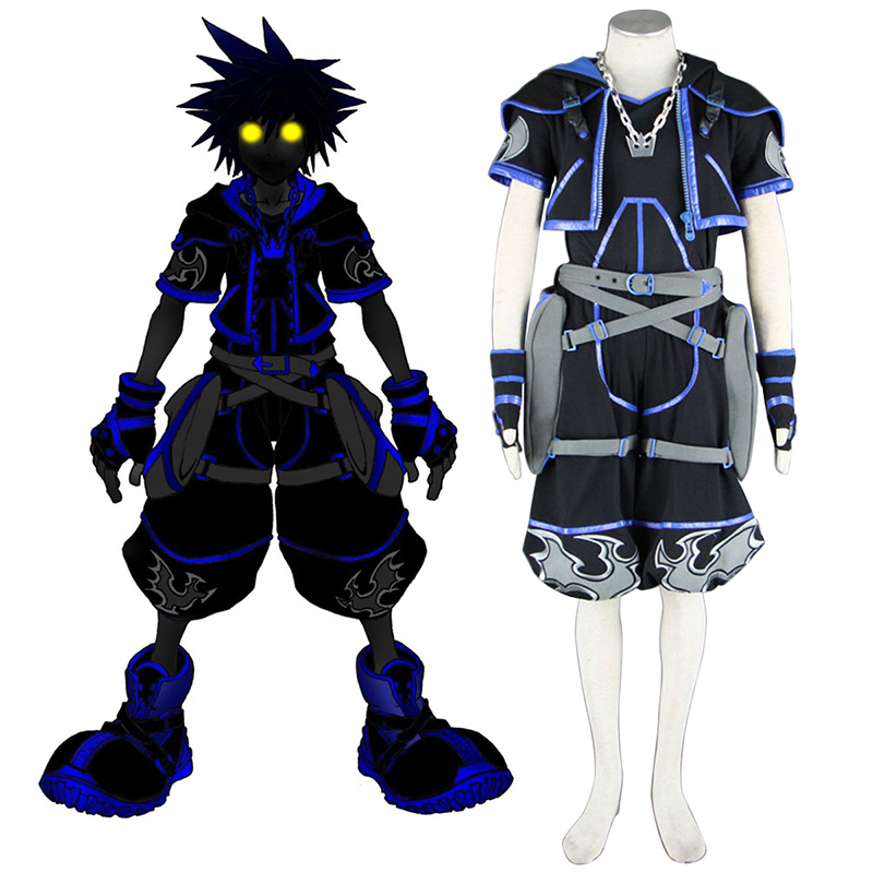 Kingdom Hearts Sora 4 Black Anime Cosplay Costumes Outfit