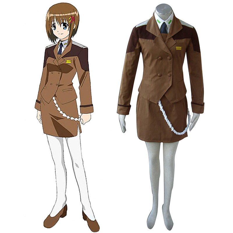 Magical Girl Lyrical Nanoha Female Military Uniform Anime Cosplay Costumes Outfit