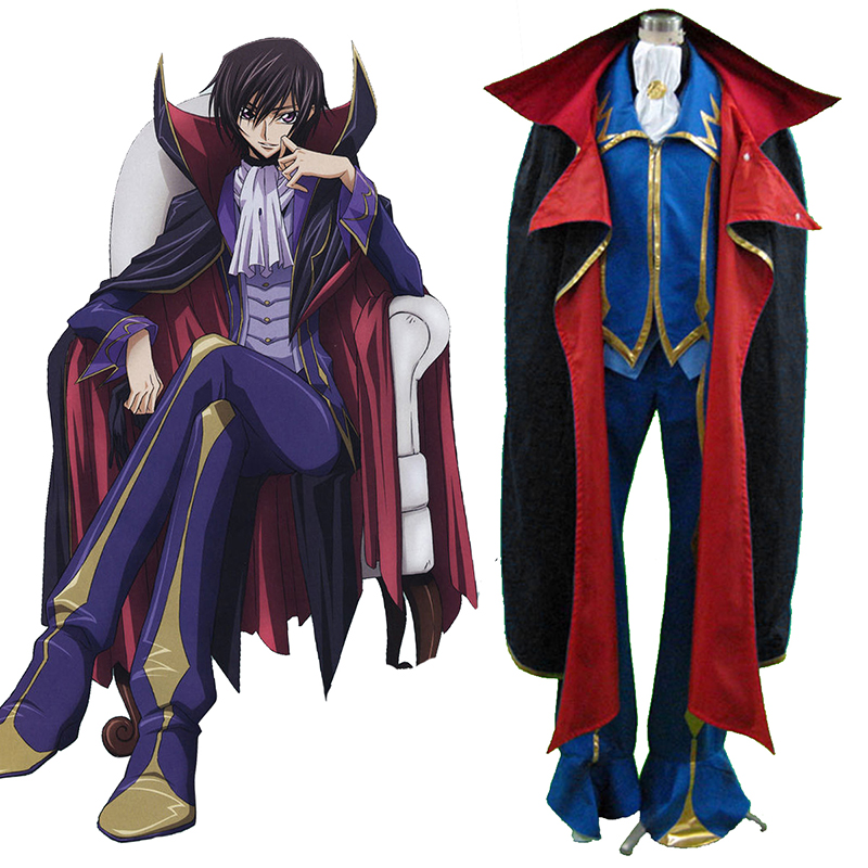 Code Geass Lelouch Lamperouge ZERO 2 Anime Cosplay Costumes Outfit