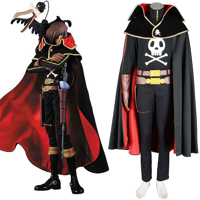 Galaxy Express 999 Captain Harlock Anime Cosplay Costumes Outfit